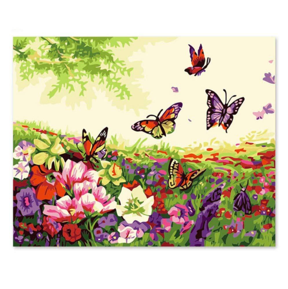 Pintura por números número arte pintura número números DIY pintura digital, decoraciones, artesanías, multicolor, mariposas, flores, 40x50cm. 1e1a2e