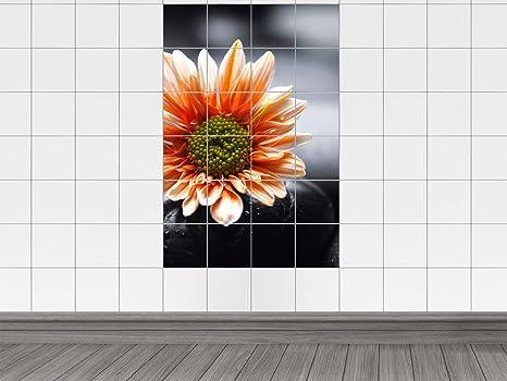 Piastrelle adesivo piastrelle stampa su arancione con fiore in