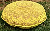 32'' Gold Mandala Barmeri Large Floor Pillow Cover Cushion Meditation Seating Ottoman Throw Cover Hippie Decorative Zipped Bohemian Pouf Ottoman Poufs, Pom Pom Pillow Cases (Yellow)