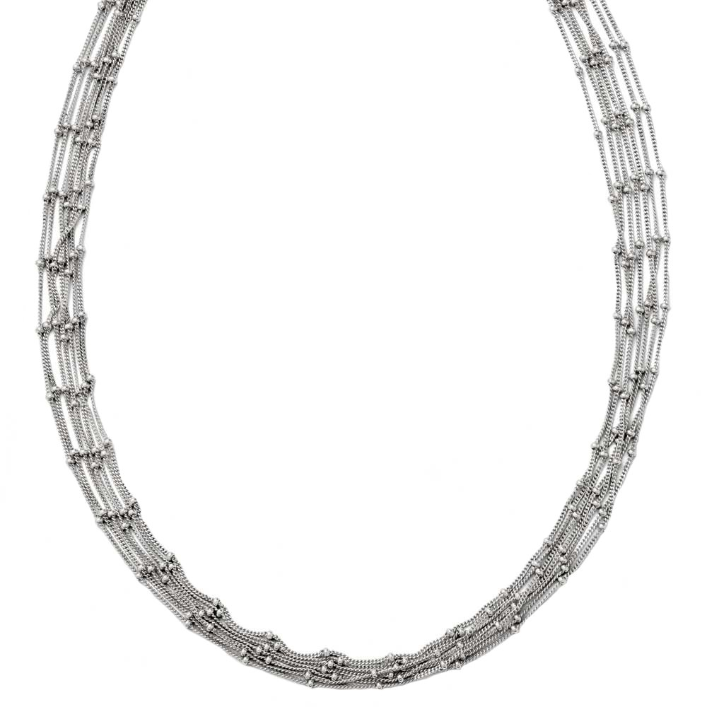 Leslie's 925 Sterling Silver Polished Fancy 7 Strand Beaded Necklace with Lobster Clasp 18 Inches