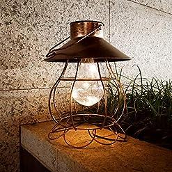 Garden and Outdoor Solar Lantern Outdoor Hanging Lights Decorative Metal Retro Solar Garden Yard Patio Waterproof Led Lighting Hollow Out… outdoor lighting