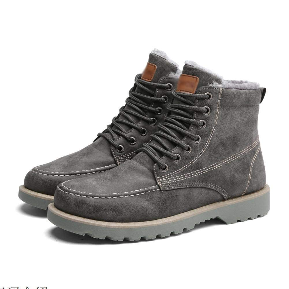 - Fuxitoggo Men workers boots autumn and winter high to help plush warm plus cotton lace with disabilities, 40 (color   -, Size   -)