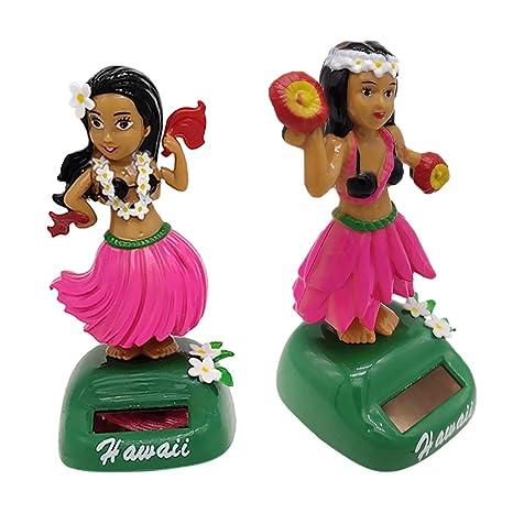 09fd24cd421fd KESOTO 2 Unidades Juguete de Energía Solar Figura de Chicas Hawaianas de  Baile Adorno para Hogar