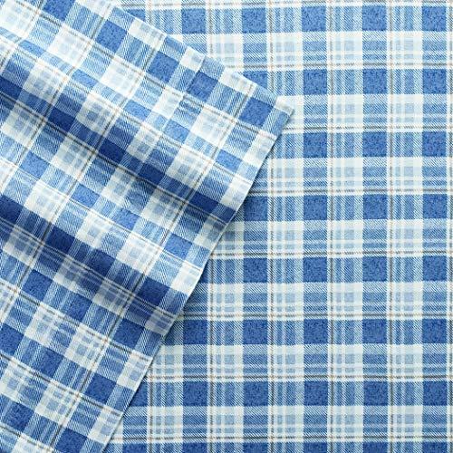 Plaid Fleece Sheet Set - Columbia Warm & Cozy Flannel Sheet Set - 100% Cotton Ultra Breathable - Moisture Wicking - High-Performance Flannel 4 Piece Sheet Set (Full, Blue Multi-Plaid)