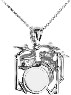 DRUM SET Necklace Drummer/'s Band Charm Pendant 925 sterling silver