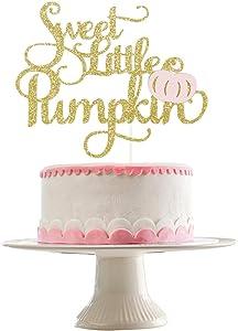 Gold Glittery Sweet Little Pumpkin Cake Topper- Pumpkin Theme Baby Shower Party Decorations,Pink Girl Fall Baby Shower Birthday Party Cake Decorations Supplies