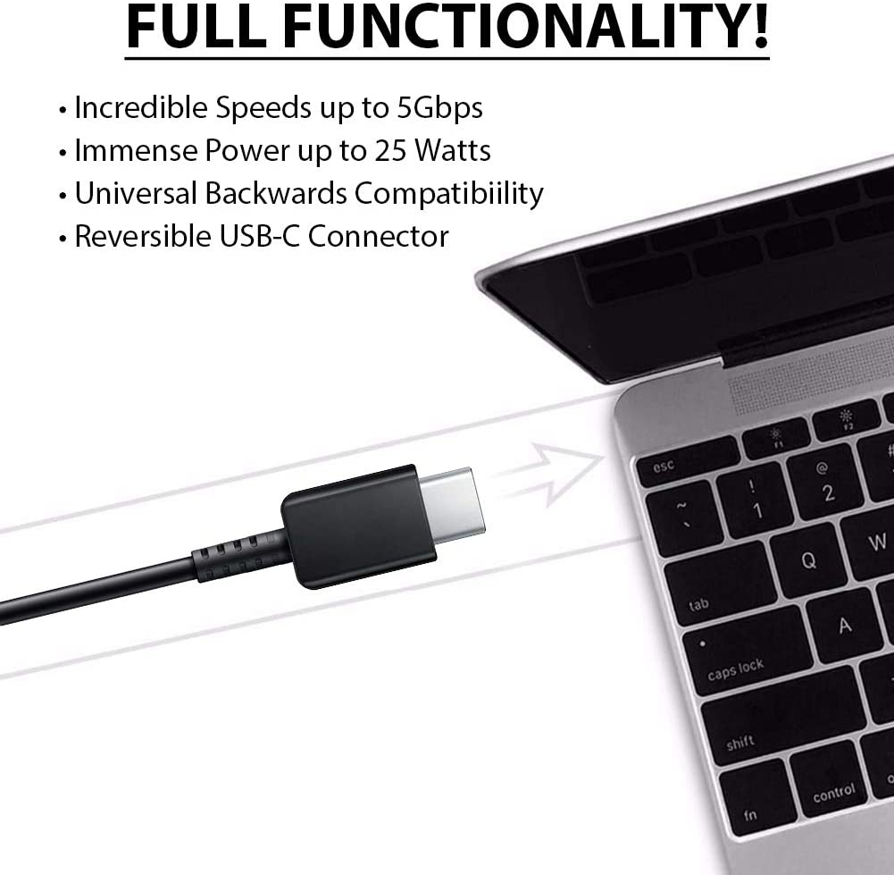 ACCE PRO USB-C Charging Transfer Cable for TCL 10L! Black 3.3Ft