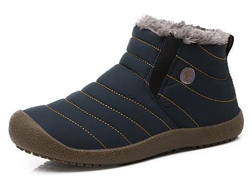 Santimon Herren Damen Schneestiefel Wasserdicht Outdoor Knöchelhoch Slip On Komfort Stiefel für Winter Schuhe Warm Gefütterte Boots