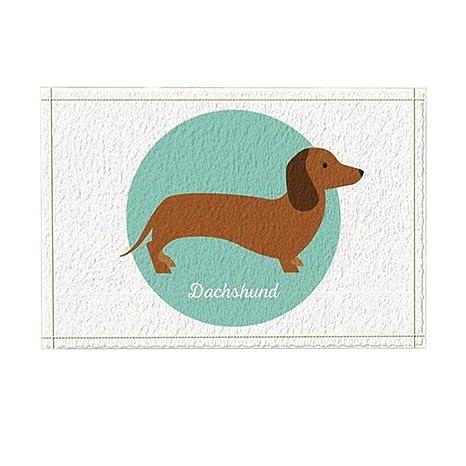 Cartone animato cane decor un bassotto adorabile in tappeti blu da
