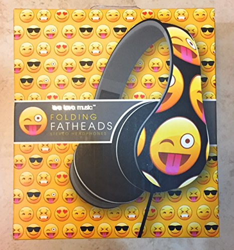 Black Emoji Folding Fathead Headphones Live Love M...