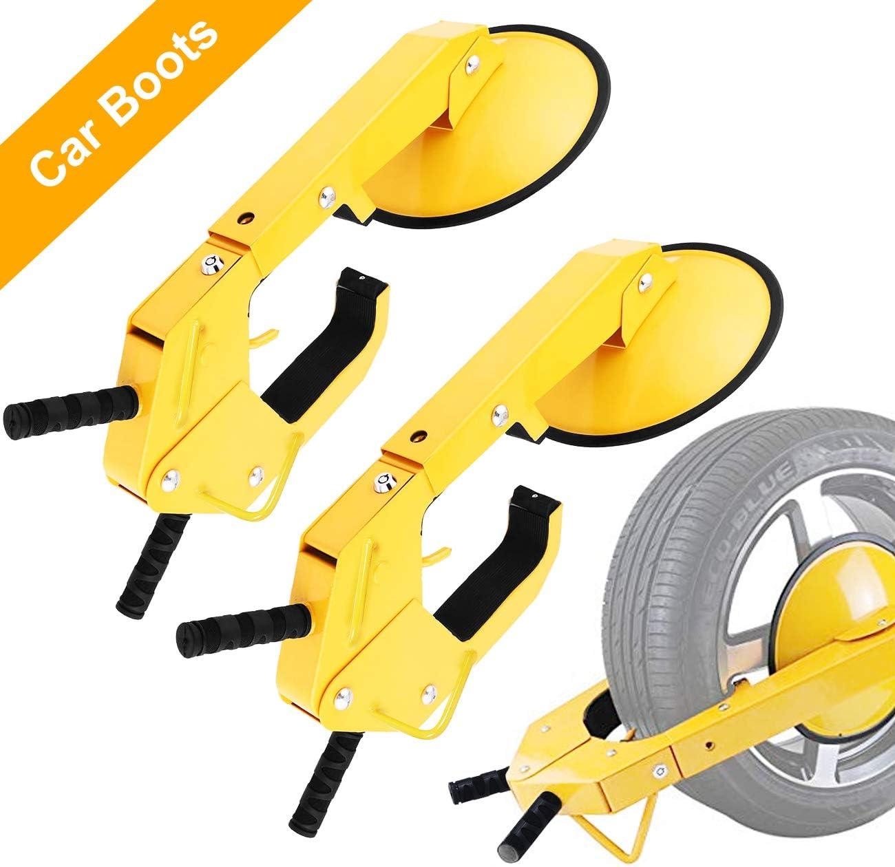 Adjustable Tire Lock Chock Anti-Theft Wheel Lock Boot Wheel Lock Tire Lock Clamp for Auto Car Trailer Truck SUV ATV RV ALAVENTE 2 Pcs Car Wheel Lock