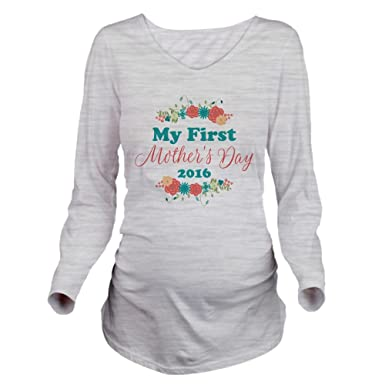 486ca37289d7d CafePress First Mother's Day Long Sleeve Maternity T-Shirt, Cute and Funny Pregnancy  Tee