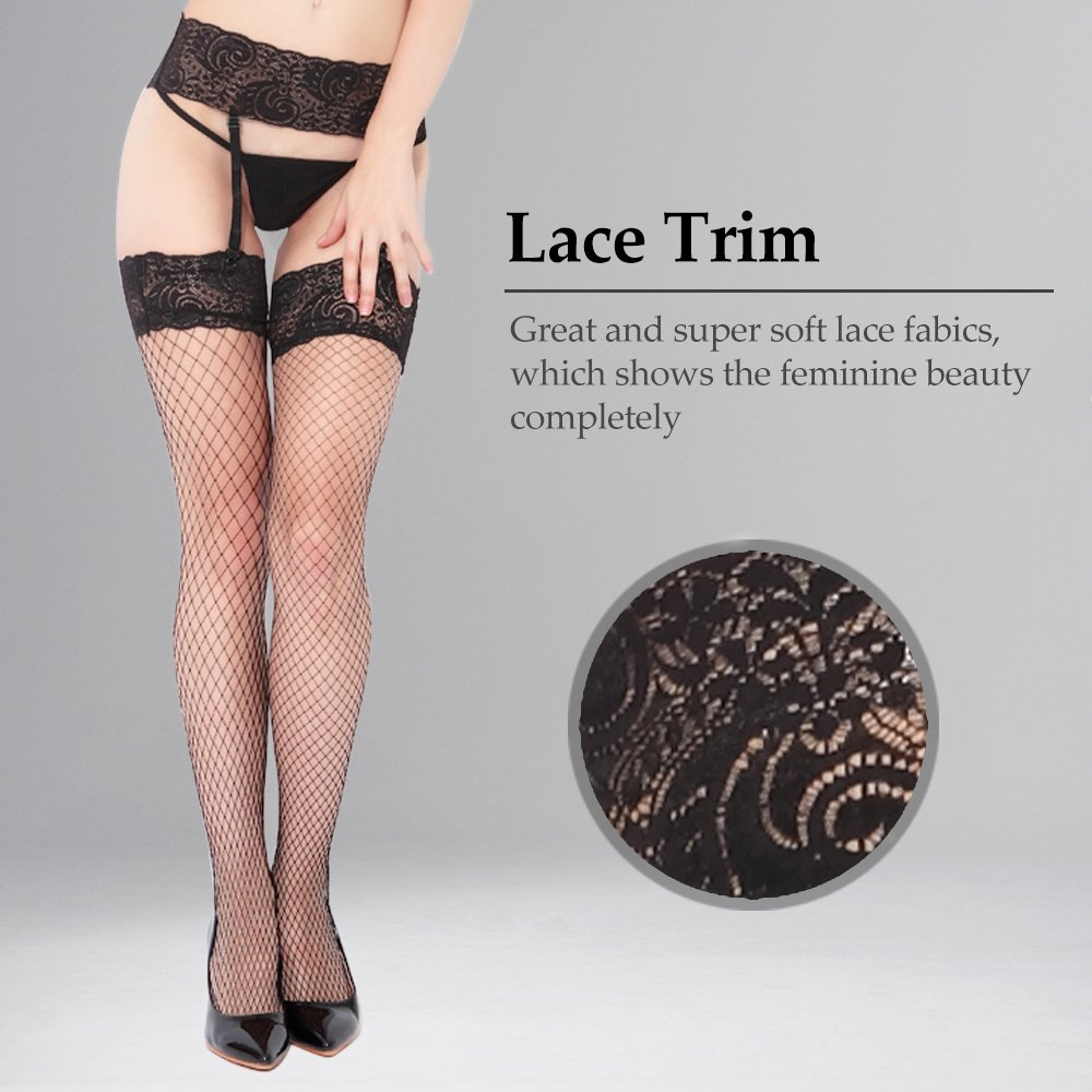 231d14599 Women Black Fishnet Stockings and Garter Belt Lace Tights Thigh High  Stockings  Amazon.in  Clothing   Accessories