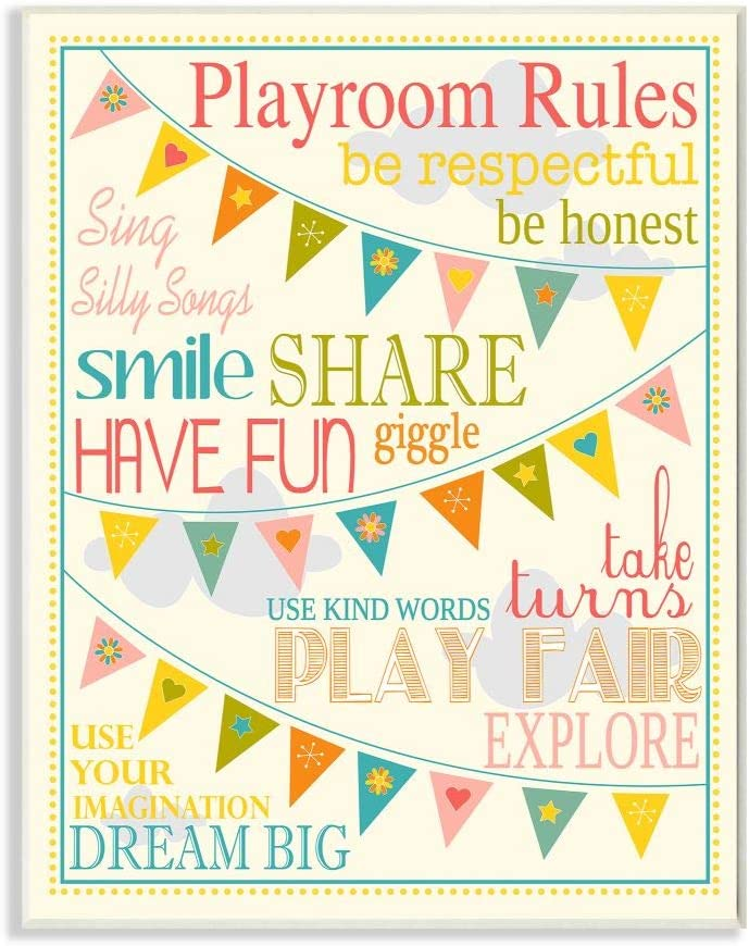 Stupell Home Décor Playroom Rules With Pennants In Pink Rectangle Wall Plaque, 10.25 x 0.5 x 14.75, Proudly Made in USA