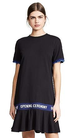 2da81a98e522 Opening Ceremony Women's Scallop Elastic Logo T-Shirt Dress, Black, X-Small