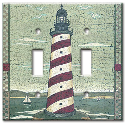 Art Plates - Double Gang Toggle OVERSIZE Switch Plate/OVER SIZE Wall Plate - Cape Lighthouse ()