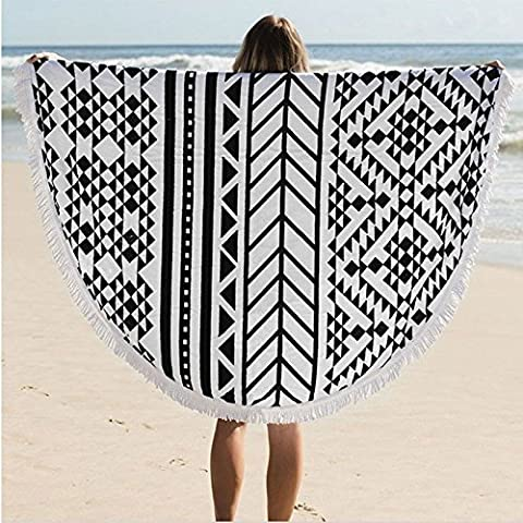MAYWHEN Round Beach Towel Roundie Thick Throw Terry Cotton with Fringe Tassels Picnic Lunch Rug Beach Playroom Decor Yoga Mat Black and white Stripes 59 (Big Circle White Fur Rug)