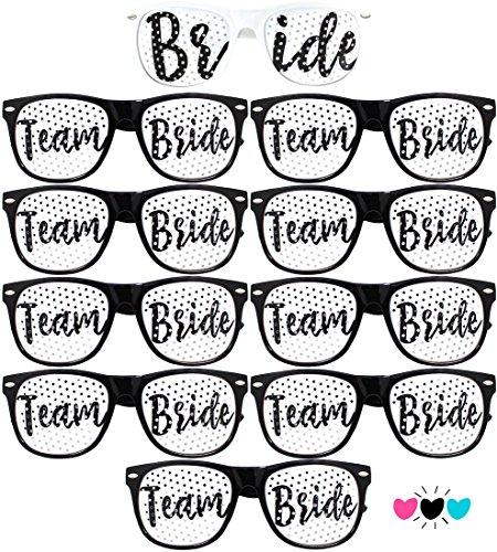 Team Bride Party Glasses - Novelty Sunglasses For Weddings, Bachelorette Parties and Bridal Showers (10pc Set, Black (Font - 9 Tribe Sunglasses