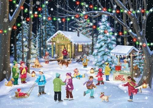 Deluxe Christmas Cards Set - Woodland Skaters Christmas Cards - Set of 15