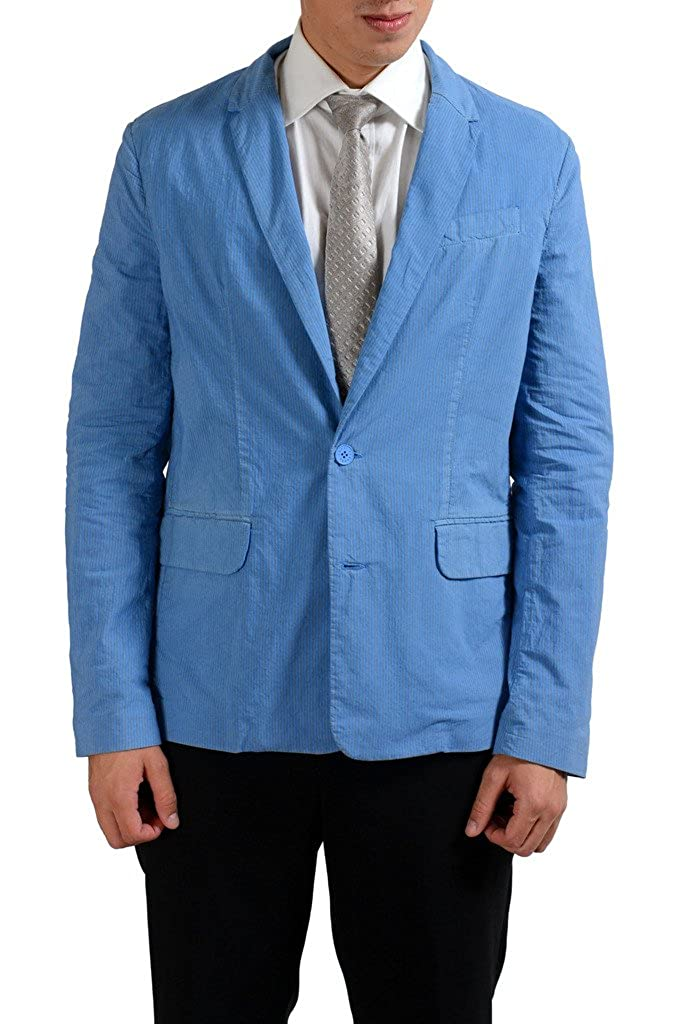 Versace Jeans Blue Striped Two Button Men's Blazer Sport Coat
