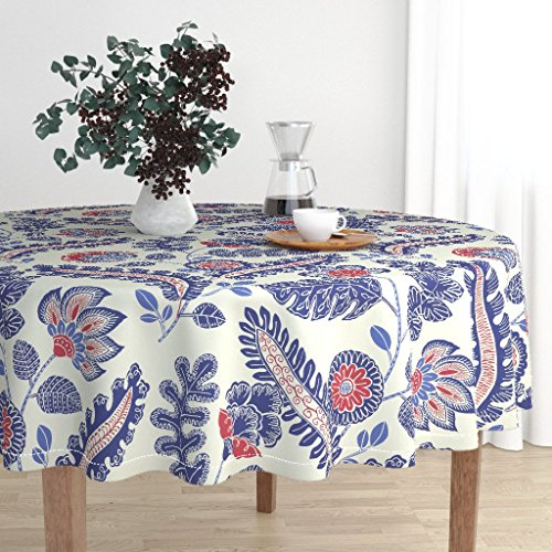 Round Tablecloth - Blue and Red Blue Red Floral Chintz White Blue and Red Indian Chintz Exotic by Kate Rowley - Cotton Sateen Tablecloth 70in