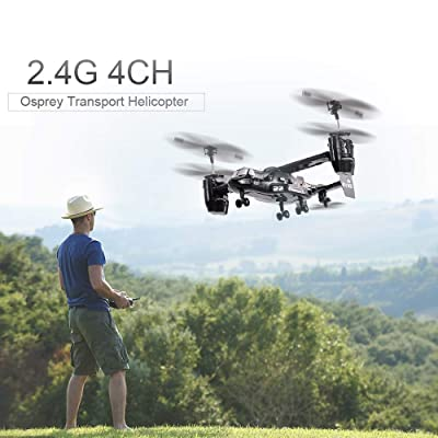 Cigooxm Remote Control Osprey Helicopter 2.4G 4CH Dual RC Drone with Double Gyro and Headlamp for Cool Kids' Toy: Toys & Games