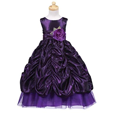 6065ea615 Amazon.com  Lito Purple Sash Taffeta Christmas Dress Toddler Little ...