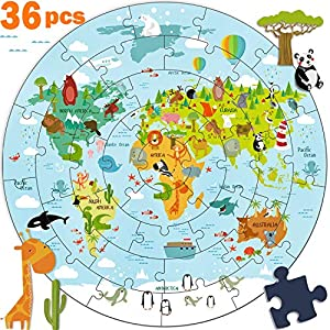 iPlay, iLearn Kids Wooden World Map Jigsaw Puzzle Toy, Jumbo Floor Puzzle w/Continents, Oceans & Animals, Educational Geography Gift for 2, 3, 4, 5, 6, 7, 8 Years Old Boys, Girls, Toddlers & Children