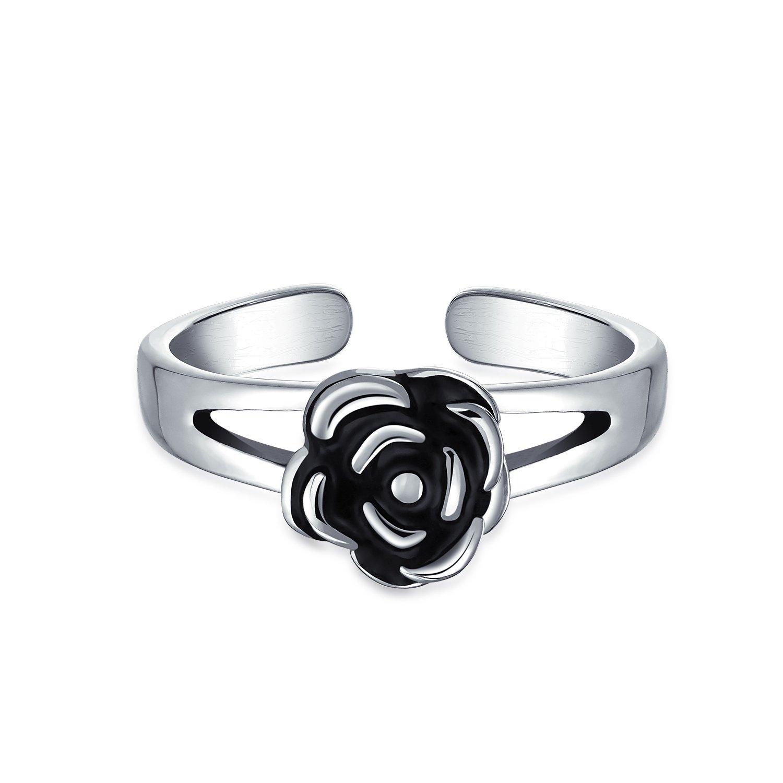 Black Rose Flower Shape Craved Midi Split Band Toe Ring Oxidized 925 Silver Sterling Adjustable