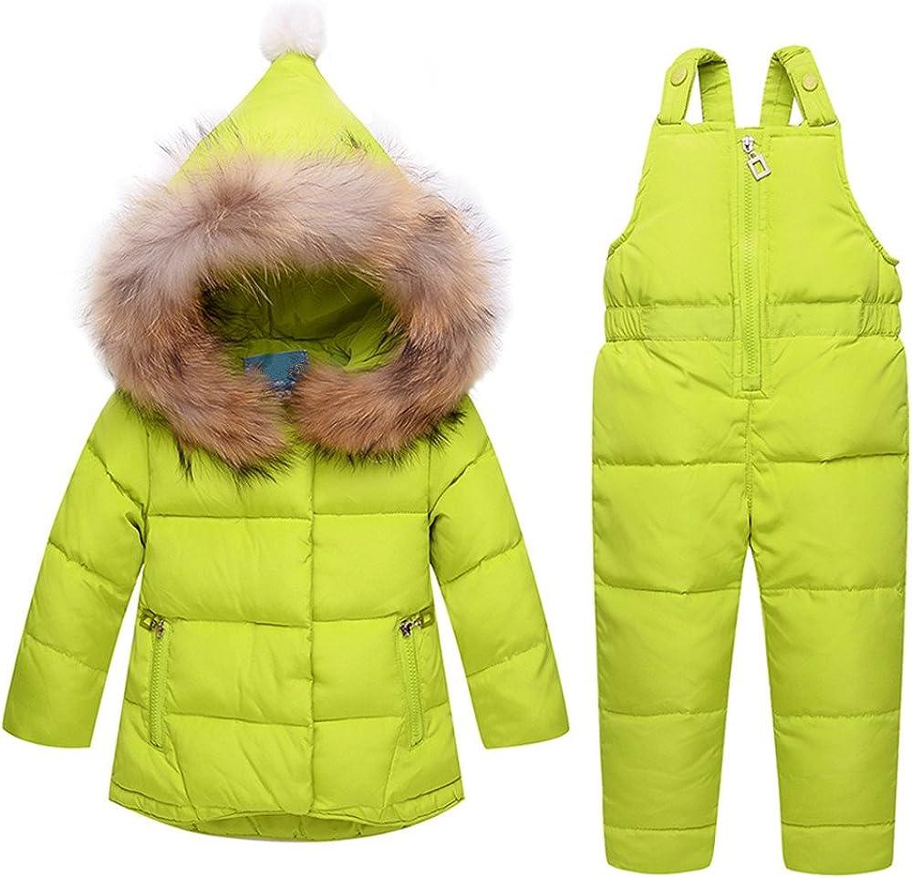 ZPW Kids Baby Snowsuit Winter Down Coat//Snow Bib Pants Fur Trimmed Hooded Jacket