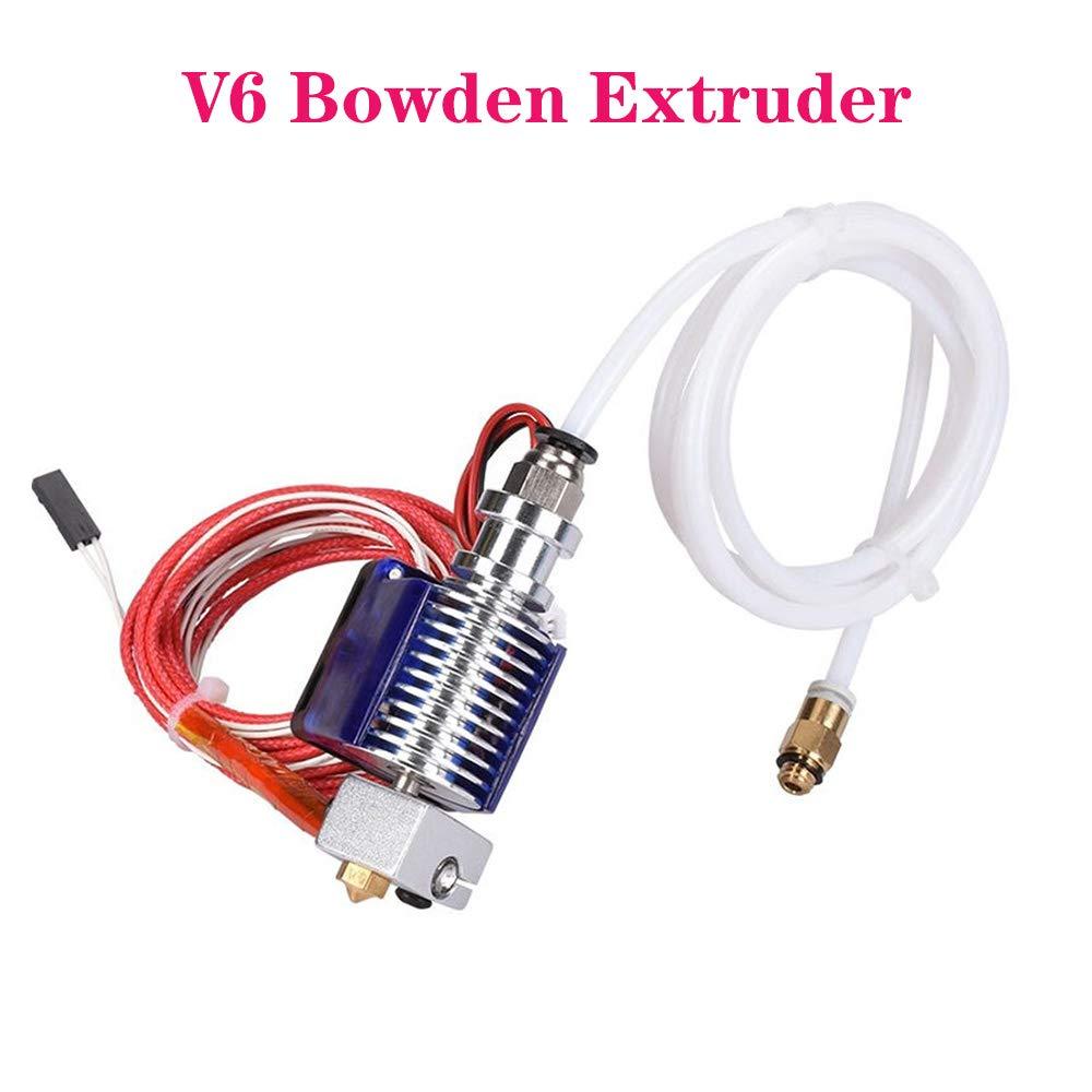 PoPprint 3D V6 J-Kopf Hotend Bowden Extruder Complete Set with 12V Fan Heater PTFE Hose Themistor 1.75mm 3mm for RepRap 3D Printer Part