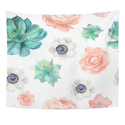 Emvency Tapestry Watercolor Succulents and Flowers Vintage Pastel Peony  Roses Anemones Home Decor Wall Hanging for Living Room Bedroom Dorm 50x60  ...