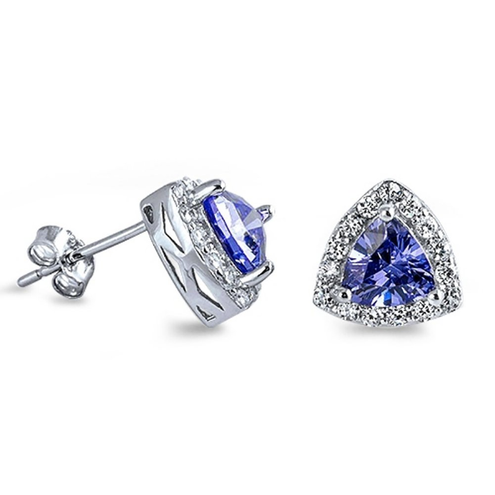 Halo Stud Earring Triangle Simulated Blue Sapphire Round Cubic Zirconia 925 Sterling Silver
