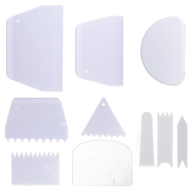 Grattoir a G/âteau spatule en plastique pour Cr/ème Pain Fondant Tarte 10 outils