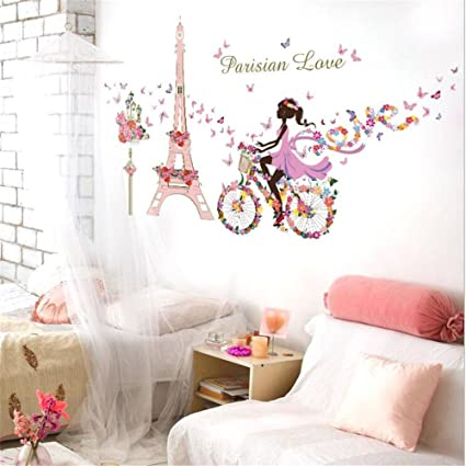 Paris Eiffel Tower Fairy Wall Stickers Window Film Elf Girl Princess Wall  Decals Butterfly Flowers Dancing