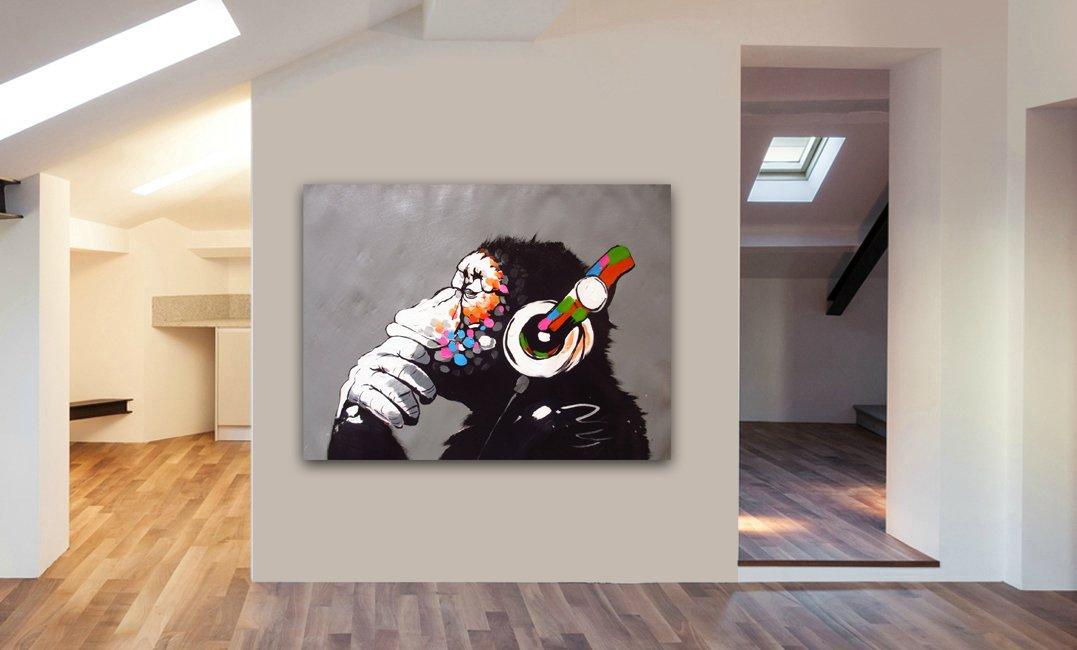 BANKSY DJ MONKEY CANVAS WALL ART PRINT VARIOUS SIZES (A0 47X33inch) FABCANVAS
