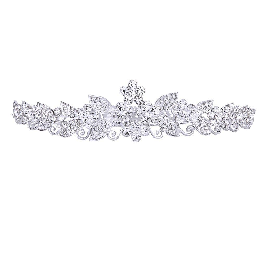 Gleader Fermacapelli a pettine della damigella d'onore diadema con strass per la festa nuziale cerimonio 027352