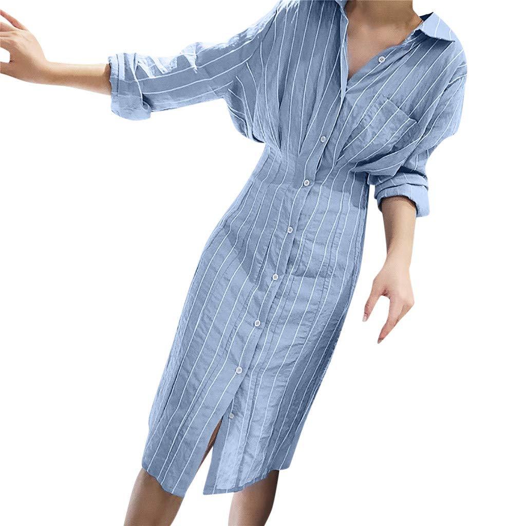 Women Long Striped T Shirt Dress Sexy Long Sleeve Pockets Turn-Down Collar Button Casual Loose Cute Sundress Daorokanduhp by Daorokanduhp Women Dress