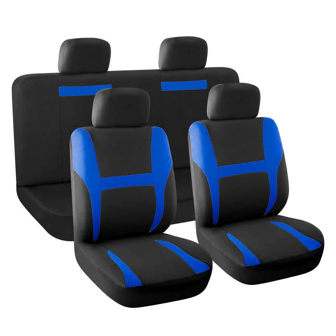 uxcell 8 piece New Car Seat Covers Full Set Blue Black for Auto SUV w//Head Rests a16071900ux0186