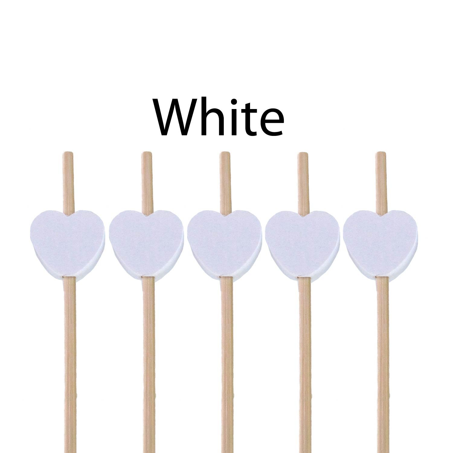 BambooMN 7.1'' Decorative White Heart Bamboo Cocktail Fruit Sandwich Picks Skewers for Catered Events, Holiday's, Restaurants or Buffets Party Supplies, 100 Pieces
