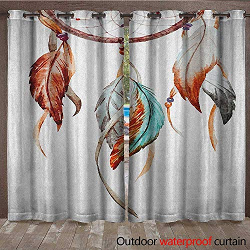 (Feather Window Curtain Watercolor Dream Catcher Native American Inspirations TraditionalW108 x L108 Burnt Sienna Seafoam Grey)