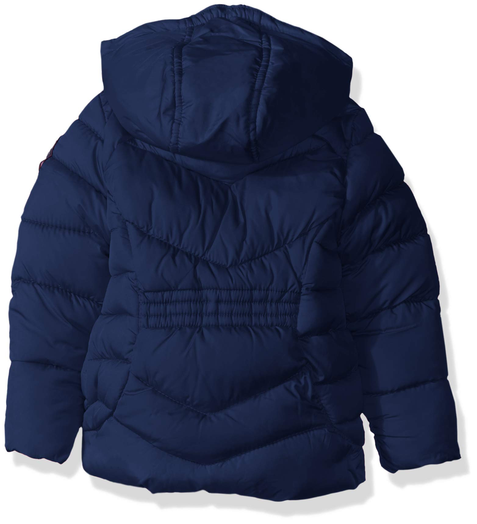 US Polo Association Girls' Little Hooded Bubble Jacket with Piping Detail, Navy, 6X by U.S. Polo Assn. (Image #2)