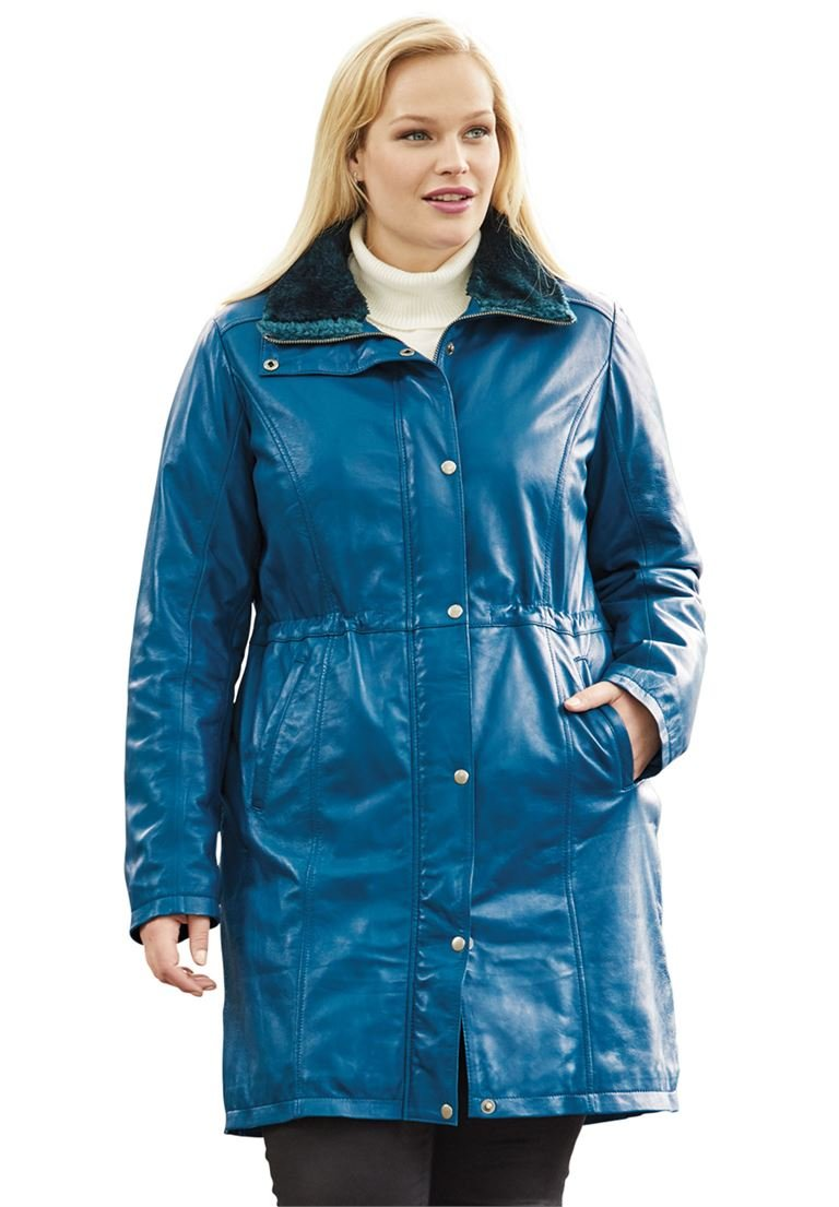 Jessica London Women's Plus Size Leather Anorak Jacket Midnight Teal,26