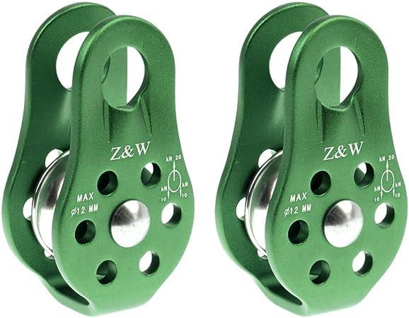 Yundxi 2 Piezas 20 KN Lateral Fijo Escalada poleas rodamiento de Bolas Micro Polea Rappelling Rescate Equipo de Seguridad