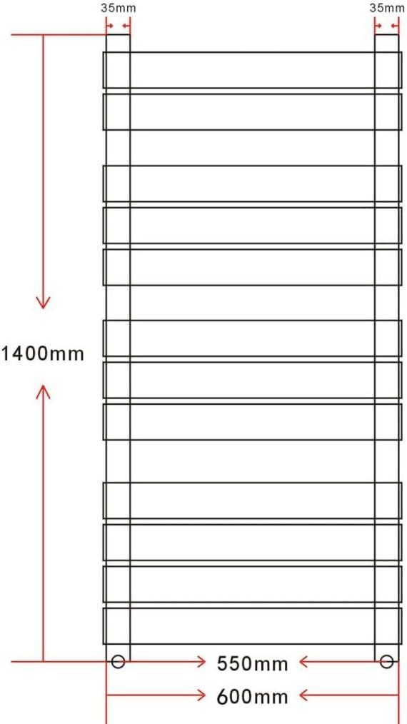 UnfadeMemory Radiador Toallero Agua Calefaccion de Pared,Estilo de Recto,con Paquete de Fijaci/ón,Acero,Blanco 500x1200mm