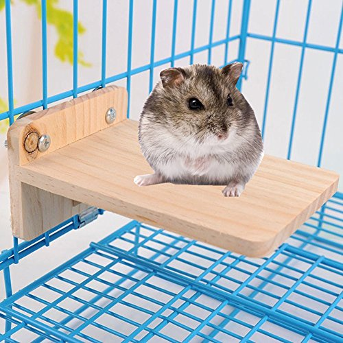 Hypeety Pet Wooden Small Animals Platform Bird Perch Playground Mouse, Totoro, Dwarf Hamster, Chinchilla, Gerbil, Paw Grinding Cage Accessories by Hypeety