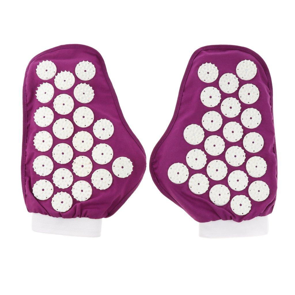 Homyl 1 Pair Spiky Pressure Point Reflexology Acupuncture Massage Gloves Massager Purple Black - Purple by Homyl (Image #4)