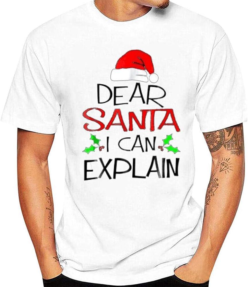 LANSKIRT Camiseta Hombre Originales Camisa Manga Corta con Estampadas Frase Navidad Ropa de Otoño Casual Tallas Grandes para Christmas: Amazon.es: Ropa y accesorios
