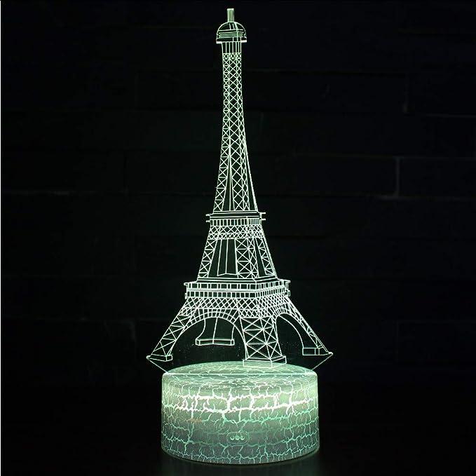 Lbonb Sensor De La Torre Eiffel Lámpara 3D Lámpara Led De Noche ...