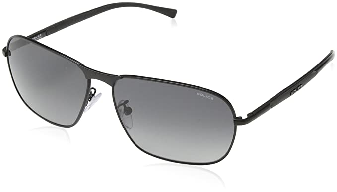 Police - Gafas de sol Rectangulares S8967 Big Match 2, SEMI-MATT BLACK FRAME